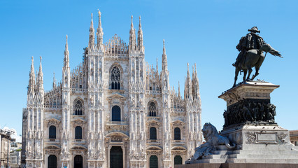Duomo of Milan,Italy.Cathedral.statue of Vittorio Emanuele 2nd.