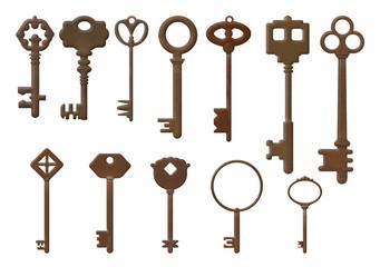 Набор из двенадцати старых ключей