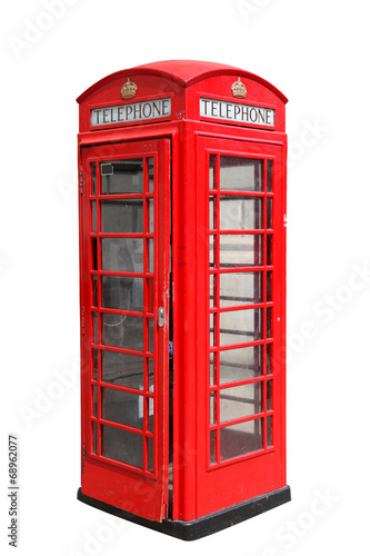 Classic British red phone booth in London, isolated on white