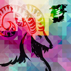 2015 New year of the Goat colorful background