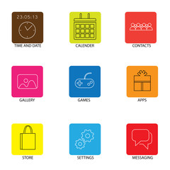 flat line icons for mobile or smartphone - concept vector.