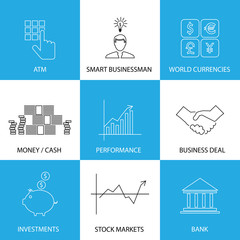 flat line icons on finance, money, currencies - concept vector