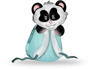 Panda in blue rucksack