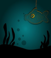 Metal fish in dark ocean