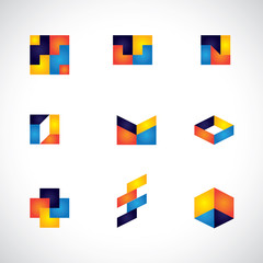 colorful abstract unusual shapes vector icons of design elements