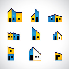 colorful set of house or home, factory & industrial buildings -