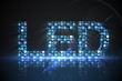 Led made of digital screens in blue