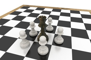 Black queen surrounded by white pawns