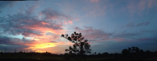 Sunset sky after hard rainy day in Panorama view