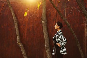 Street fashion concept. Fashion portrait of beautiful brunette