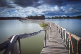 Fototapety Wooden bridge crossover reservoir southern of Thailand