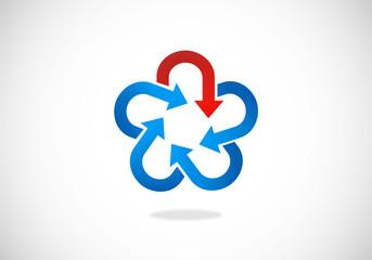 star circle arrow vector logo