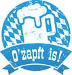 Button Ozapft is blau mit Rauten zerkratzt