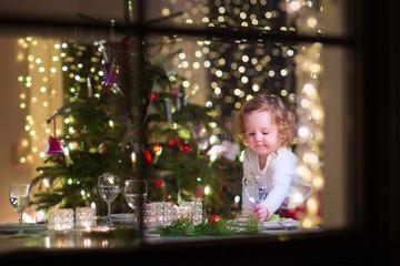 Little girl at Christmas dinner