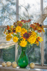 still life bouquet of the autumn yellow flowers