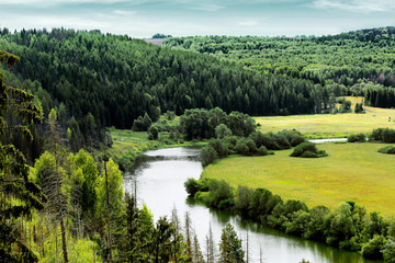 scenery with pine forest, river and fields