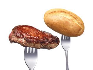 Steak mit Brötchen