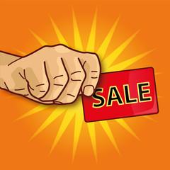 Hand mit Visitenkarte Sale und Verkauf