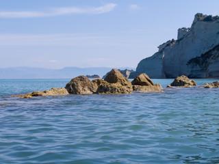 Rocks outside the Corfu ocean shore