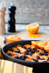 Tradition Seafood Spanish Paella in authentic iron pan