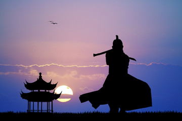 Samurai at sunset