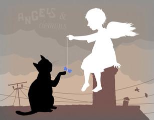 Маленький ангел и черный кот на крыше