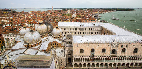 aerial view to Doges palace in Venetia