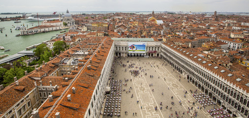 aerial view to venetian roofs