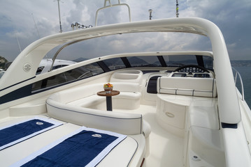 Italy, Baia (Naples), Aqua luxury yacht, cockpit