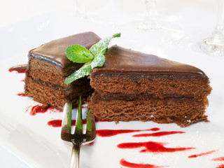 Piece of chocolake cake with fork