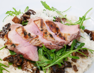 Grilled pork sirloin with mushroom risotto