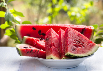 Fresh slices of ripe watermelon