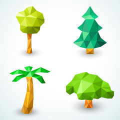 Set of polygonal origami tree icons. Illustration