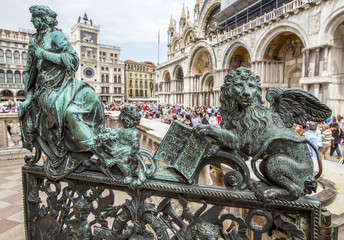 sculptures on stairs on san Marco square in Venezia
