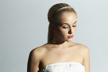sad bride in white dress.Beautiful blond woman.stylish girl