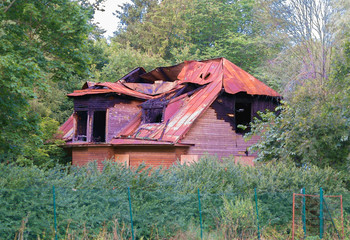Old burned-out house in the woods.