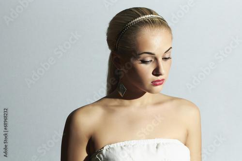 sad bride in white dress.Beautiful blond woman.stylish girl