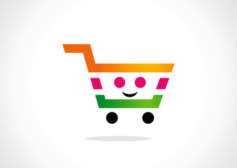 Shopping cart icons isolated on white background for internet