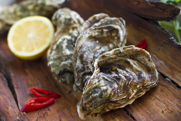Fresh oysters with lemon and chili pepper