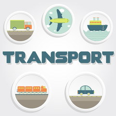 """Transport"" word and icons"