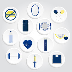 Circular icons of health with gradient