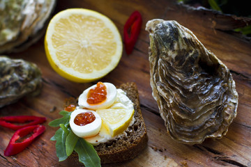 Fine de claire oyster with red caviar and quail eggs