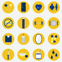 Colorful circular icons of health