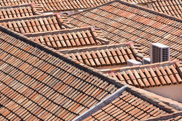 Aerial view of red tile roofs
