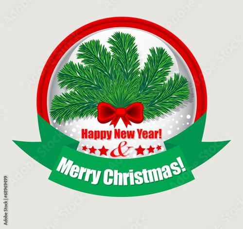 Этикетка рождество и новый год