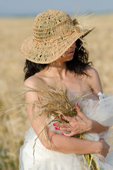 Girl in a Summer Wheat Field