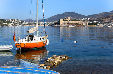 Bodrum Castle and boats of beautiful tourism city Bodrum