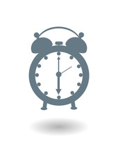 Vector icon of an old alarm clock with shadow