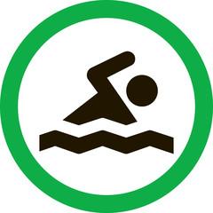 Круглый векторный значок с изображением пловца