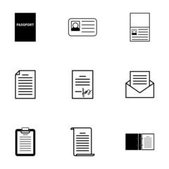 Vector black document icons set